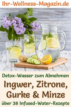 Ginger Lemon Cucumber Mint Water - Recipe for Infused Water - Detox Water - Detox-Wasser - Rezepte - Detox water – recipe for ginger-lemon-cucumber-mint water: Infused water helps you lose weight, is - Healthy Detox, Healthy Eating Tips, Healthy Nutrition, Easy Detox, Infused Water Detox, Infused Water Recipes, Smoothie Detox, Smoothies, Lemon Cucumber Mint Water