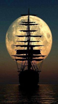 sail away .sail away.sail away Tall Ships, Moon Pictures, Moon Photos, Images Photos, Nature Pictures, Pirate Life, Beautiful Moon, Beautiful Scenery, Beautiful Images