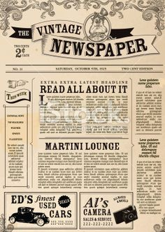 Vintage Newspaper layout design template Royalty Free Stock Vector Art Illustration