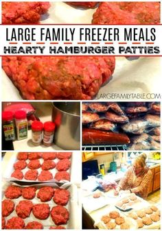 Juicy hearty hamburger patties for your next large family meal. Stock up the freezer with this tasty recipe! Hamburgers are a delicious casual family fun meal! Quick Crockpot Meals, Quick Meals To Make, Make Ahead Freezer Meals, Freezer Cooking, Frugal Meals, Budget Meals, Weeknight Meals, Freezable Meals, Batch Cooking