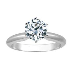 1/2 Carat Round Cut Diamond Solitaire Engagement Ring Platinum 6 Prong (K, VS2-SI1, 0.5 c.t.w) Very Good Cut
