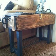 antique ammo box storage table...these boxes are cheap at army surplus.