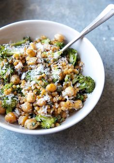 Israel Couscous Salad with Broccoli, Chickpeas, and Pesto