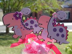 Girl Dinosaur Birthday Party Cupcake Toppers. $15.00, via Etsy.