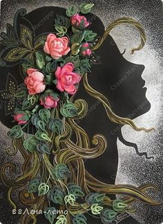 Beautiful Silhouette of a Young Lady with quilled decos in her hair, which is also quilled.