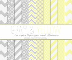 Just Peachy Designs: Free Gray and Yellow Digital Paper Set