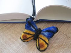 Needle Felted Wool Bookmark Butterfly. Gift for by ViolaArtShop