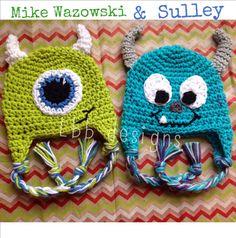 Mike Wazowski or Sulley Newborn Crochet Hat- Photo Prop on Etsy, $25.00