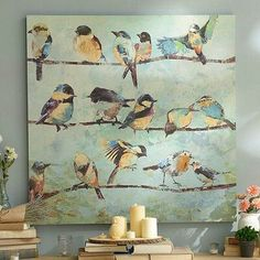 Product Details The Hangout Canvas Art Print Nice colors- not sure about the birds - LOL I have a thing about too many bird things in my decor. The Hangout Canvas Art Print Canvas Artwork, Canvas Art Prints, Painting Prints, Painting & Drawing, Bird Drawings, Bird Pictures, Animal Paintings, Quote Paintings, Bird Paintings