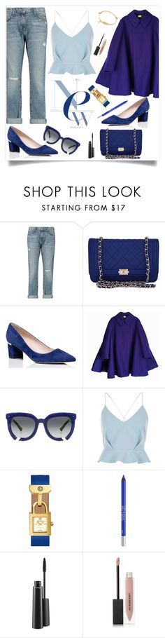 """""""Blue Jean Baby"""" by maggiesinthemoon ❤ liked on Polyvore featuring Current/Elliott, Chanel, Kate Spade, Acne Studios, Grey Ant, River Island, Tory Burch, Urban Decay, MAC Cosmetics and Burberry"""