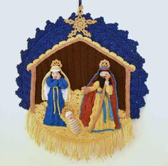 nativity crochet pattern | Crocheting: Crochet Nativity Wall Hanging