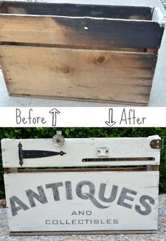 Turn a charred box from a flea market into a one-of-a-kind storage container with the help of some paint, a cool stencil, and random pieces of hardware. From MySalvagedTreasures.com