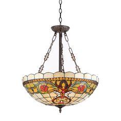 Chloe Tiffany Style Victorian Design 3-light Pendant, Beige (Art Glass)