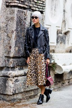 Prints in street style. Linda Tol in leopard and leather at Milan Fashion Week Spring 2015.