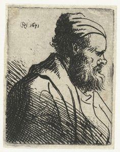 Rembrandt Harmensz. van Rijn   Buste van een man met pet, Rembrandt Harmensz. van Rijn, 1625 - 1631   Een oudere man met een bolle neus en een pet op.