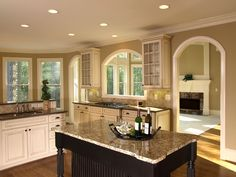 Kitchen pass through - love the shape and the trim around it!!!