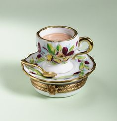 Limoges pansies capuccino cup