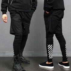 Avant garde Layered Short Pants Black Leggings Sweatpants
