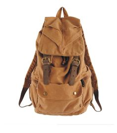 Military Canvas Leather Hiking Travel Rucksack Backpack