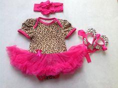 Hot Pink Leopard Baby Girl Onesie Romper Set, leopard Peplum onesie, Hot Pink headband & a pair of leopard shoes, Newborn- 12 months