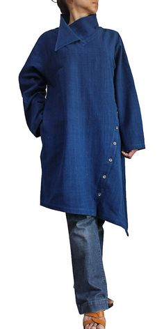 ChomThong Hand Woven Cotton Design Neck Diagonal Button Tunic (BFS-129-03)