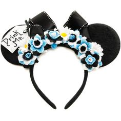 Alice Mouse Ears Headband, Drink Me Mouse Ears, Wonderland Ears, Alice... ($29) ❤ liked on Polyvore featuring accessories, hair accessories, flower headwrap, head wrap headbands, headband hair accessories, head wrap hair accessories and hair band headband
