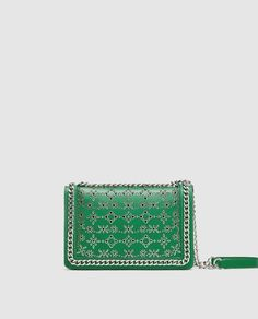 ZARA - WOMAN - DIE-CUT LEATHER CROSSBODY BAG WITH CHAIN TRIMS