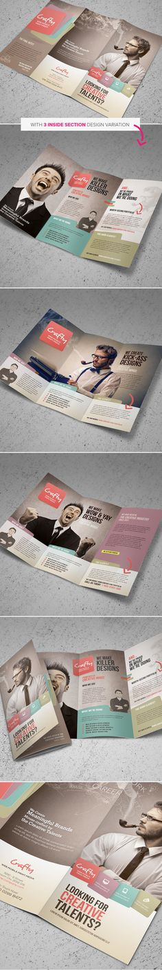 Creative Design Agency Trifold Brochure by Kinzi Wij, via Behance