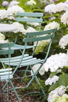 Hydrangeas & French Cafe Chairs | Woodside Garden, Elizabeth Everdell