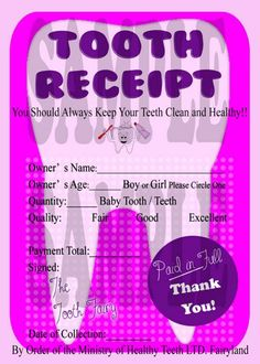 Boy/Girl Tooth Fairy Receipt  for Your childs pillow DIY Digital File  Comes in Pink or Blue and it can be personalized!!