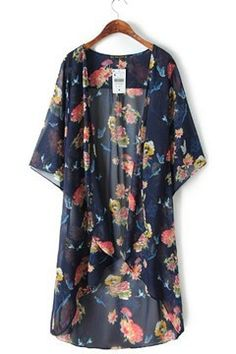 This fab floral kimono is gorgeous! We love all those vibrant colors! They al play off of each other so well! This kimono will liven up any outfit! Chiffon Cardigan, Chiffon Kimono, Floral Chiffon, Chiffon Tops, Print Chiffon, Floral Kimono, Look Fashion, Trendy Fashion, Street Fashion