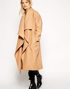 Enlarge ASOS PETITE Oversized Coat With Waterfall Drape