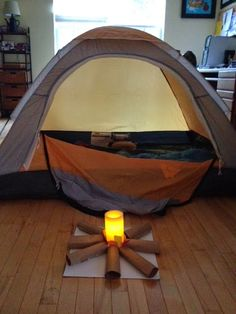 The Stay-at-Home-Mom Survival Guide: Camp-In - use battery operated candle for indoor campfire