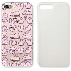 Cute Pig Quote Text Slim Iphone 7 Case, Text Clear Iphone 7 Hard Cover... ($8.99) ❤ liked on Polyvore featuring accessories and tech accessories