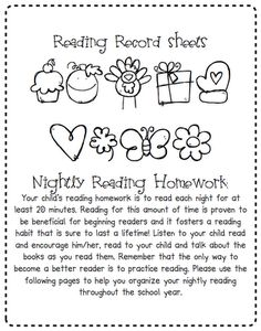 Reading Records Sheets...so cute! I think I would have a shape for each day of the month to color.