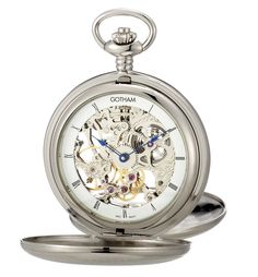 Gotham Men's Silver-Mechanical Pocket Watch with Desktop Stand # GWC18802S-ST #Gotham