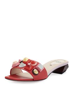 Studded+Leather+Slide+Sandal,+Red/Pink+by+Fendi+at+Neiman+Marcus.