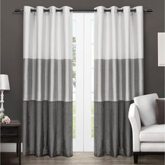 Exclusive Home Curtains Chateau Striped Faux Silk Grommet Top Curtain Panel Pair, Dove Grey, 2 Piece Home Curtains, Grommet Curtains, Window Curtains, Curtain Panels, Valances, Window Panels, Faux Silk Curtains, Striped Curtains, Gray Curtains
