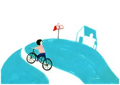 Coming home Art Drawing Print Poster Mid Century Retro Blue Wall Hanging Boy on bike Illustration Room Decor Children Present A4 8.3×11.7 in...