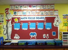 Math Focus Wall.. love the decorations.. fits my room well.. but I don't have a focus board like this, I make posters and hang them EVERYWHERE for math. lol