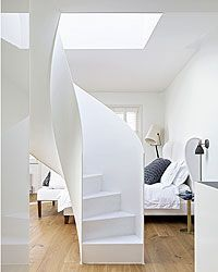 Mark Christophers - bedroom, beautiful curved stairs
