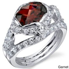 Oravo Sterling Silver Oval-cut Prong-set Gemstone and Cubic Zirconia Ring (Garnet Size 8), Women's, Red