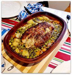 Un dimanche a la campagne: Cuisine vintage : rôti de veau aux petits pois (au Römertopf) Some Recipe, Ratatouille, Paella, Recipies, Food And Drink, Beef, Meals, Cooking, Ethnic Recipes