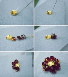 How to embroider a flower with paillettes