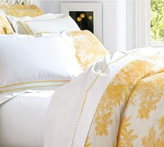 Matine Toile Duvet Cover & Sham - Marigold | Pottery Barn so over my yellow wall. but i still want yellow!