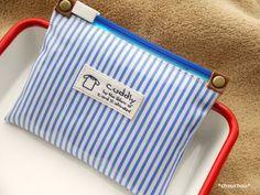 ビニコ×スライダー式のぺたんこポーチ - *chouchou* Blog Entry, Deco, Pouch, Sewing, Crafts, Handmade, Bags, Funny, Clothes