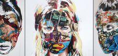 Γυναικεία πορτραίτα καλυμμένα με κόμικς από την Sandra Chevrier. Ζωγραφική & Κολάζ Sandra Chevrier, Joker, Fictional Characters, Art, Art Background, Kunst, The Joker, Performing Arts, Fantasy Characters