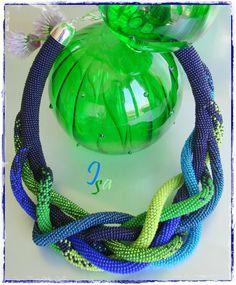 Collier MS 'Liane' bleu & vert
