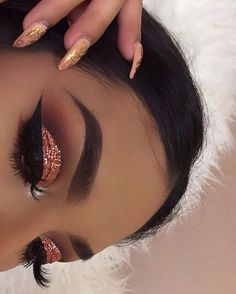 eye makeup, eyebrows, fashion, nails, rose gold