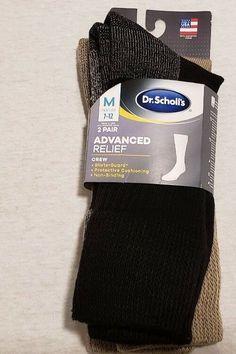 cfadb4c140e3 Dr. Scholl's Advanced Relief Men's Large 7-12 Black/Tan Socks 2 pack
